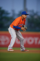 Syracuse Mets third baseman Ruben Tejada (1) during an International League game against the Buffalo Bisons on June 29, 2019 at Sahlen Field in Buffalo, New York.  Buffalo defeated Syracuse 9-3.  (Mike Janes/Four Seam Images)
