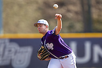 High Point Panthers starting pitcher Mike Krumm (20) in action against the Coastal Carolina Chanticleers at Willard Stadium on March 15, 2014 in High Point, North Carolina.  The Chanticleers defeated the Panthers 1-0 in the first game of a double-header.  (Brian Westerholt/Four Seam Images)