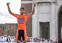Podium with 2nd place finisher Pawel Bernas (POL/CCC). <br /> <br /> <br /> 1st Great War Remembrance Race 2018 (UCI Europe Tour Cat. 1.1) <br /> Nieuwpoort > Ieper (BE) 192.7 km