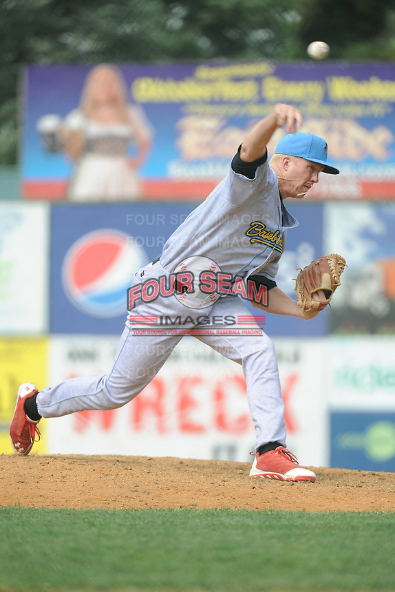 Reading Fightin Phils pitcher Mike Nesseth (35) during game against the New Britain Rock Cats  at New Britain Stadium on July 13, 2014 in New Britain, CT. Reading defeated New Britain 6-4.  (Tomasso DeRosa/Four Seam Images)