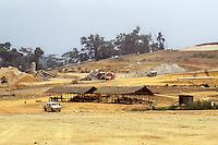 Ivory Coast (Cote d'Ivoire).  Ore piles, Afema Gold Mine, Southeast Ivory Coast.