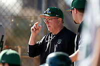 Dartmouth Big Green head coach Bob Whalen during a game against the Omaha Mavericks on February 23, 2020 at North Charlotte Regional Park in Port Charlotte, Florida.  Dartmouth defeated Omaha 8-1.  (Mike Janes/Four Seam Images)