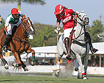 WELLINGTON, FL - FEBRUARY 19: Gillian Johnston of Coca Cola takes the ball to the goal with Facundo Obregon of Tonkawa in pursuit, as Coca Cola 9 defeats Tonkawa 8 in overtime with a Golden Goal on a Penalty 2 by Julio Arellano, in the William Ylvisaker Cup Final, at the International Polo Club, Palm Beach on February 19, 2017 in Wellington, Florida. (Photo by Liz Lamont/Eclipse Sportswire/Getty Images)