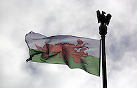 A Wales flag in the shape of a red lobster instead of a red dragon outside the Guildhall, to raise awareness for Skin Care Cymru, in Swansea, Wales, UK. Tuesday 28 February 2017