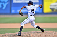 Asheville Tourists pitcher Raymells Rosa (21) delivers a pitch during a game against the Delmarva Shorebirds at McCormick Field on May 5, 2019 in Asheville, North Carolina. The Shorebirds defeated the Tourists 10-9. (Tony Farlow/Four Seam Images)