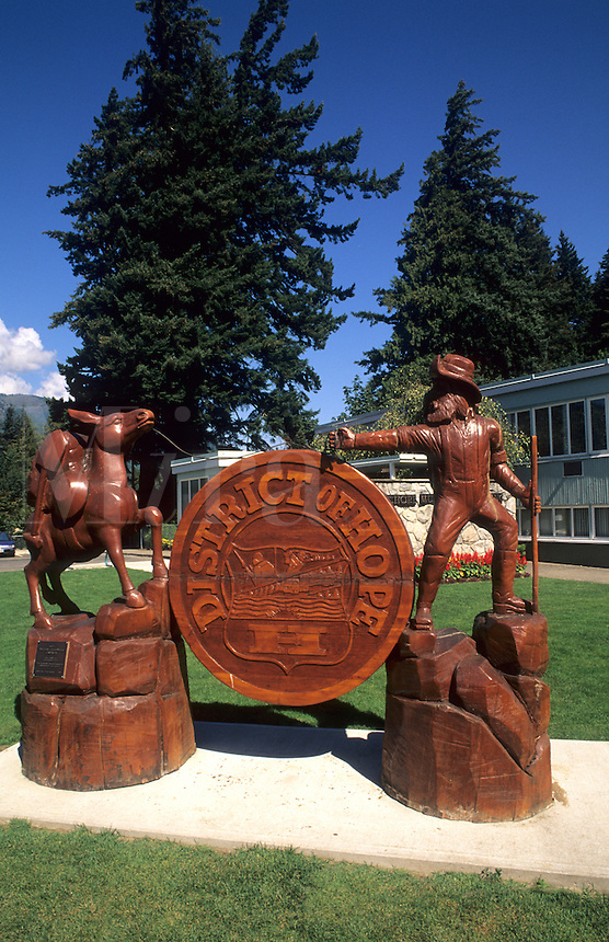 Wood carving in town of Hope, British Columbia, Canada