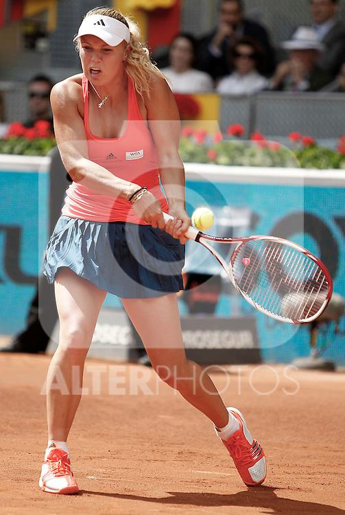 Caroline Wozniacki during Madrid Open Tennis tournament Match. May 03, 2011. (ALTERPHOTOS/Alvaro Hernandez)