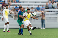 HARTFORD, CT - AUGUST 17: Zeiko Lewis #10 of Charleston Battery passes the ball as Danny Barrera #10 of Hartford Athletic pressures during a game between Charleston Battery and Hartford Athletic at Dillon Stadium on August 17, 2021 in Hartford, Connecticut.