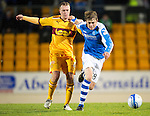 St Johnstone v Motherwell...03.11.12      SPL.Murray Davidson fouled by Nicky Law.Picture by Graeme Hart..Copyright Perthshire Picture Agency.Tel: 01738 623350  Mobile: 07990 594431