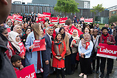 Tulip Siddiq,  London Mayor Sadiq Khan and women supprters at the launch of her campaign to retain Hampstead and Kilburn, the tenth most marginal Labour parliamentary seat in the UK.  Swiss Cottage, London.