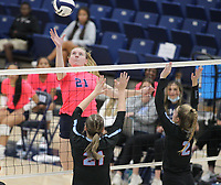 Kyla Clubb (21) of Har-ber goes up to dink ball across the net as Sophia Neilhouse (21) and Kennedy Meadors (2) go up for block on Tuesday, October 12, 2021, during play at Wildcat Arena, Springdale. Visit nwaonline.com/211013Daily/ for today's photo gallery.<br /> (Special to the NWA Democrat-Gazette/David Beach)