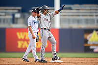 Lakeland Flying Tigers Dylan Rosa (21) calls timeout as shortstop Diego Castillo looks on during a Florida State League game against the Tampa Tarpons on April 7, 2019 at George M. Steinbrenner Field in Tampa, Florida.  Tampa defeated Lakeland 3-2.  (Mike Janes/Four Seam Images)