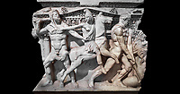 """Close up of a end of a Roman relief sculpted Hercules sarcophagus with kline couch lid, """"Columned Sarcophagi of Asia Minor"""" style typical of Sidamara, 250-260 AD, Konya Archaeological Museum, Turkey. Against a black background"""