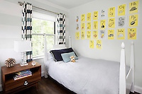 small bedroom with wall decoration