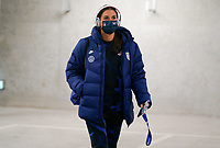 LE HAVRE, FRANCE - APRIL 13: Alex Morgan #13 of the United States arrives at the stadium before a game between France and USWNT at Stade Oceane on April 13, 2021 in Le Havre, France.