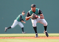 Shortstop Sharlon Schoop (2) of the Augusta GreenJackets waits for a ground ball in a game against the Greenville Drive on May 20, 2010, at Fluor Field at the West End in Greenville, S.C. Photo by: Tom Priddy/Four Seam Images