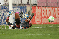Philadelphia goalkeeper, Karina LeBlanc (23), looks on helplessly as the ball crosses the line into her goal.  After a nearly two hour rain delay, Sky Blue FC defeated the Philadelphia Independence on a second half goal by Yael Averbuch in a game played at Yurcak Field on the Rutgers University Campus in Piscataway, NJ.