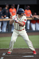 Alex Brickman (42) of the Dayton Flyers at bat against the Campbell Camels at Jim Perry Stadium on February 28, 2021 in Buies Creek, North Carolina. The Camels defeated the Flyers 11-2. (Brian Westerholt/Four Seam Images)