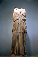"Greek Arts:  The ""Artemis Lansdowne""--identified by quiver strap across chest.  Artemis in high-belted peplos.  Malibu goddess--Roman 11th c. B.C. copy of early 4th c. B.C. Greek."