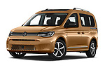 Stock pictures of low aggressive front three quarter view of 2021 Volkswagen Caddy Style 5 Door Mini MPV Low Aggressive