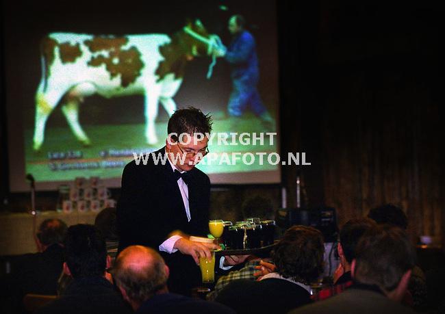 Didam,140100  Foto: Koos Groenewold (APA)<br />Videopresentatie van diverse koeien in zalencentrum boszicht in Didam onder het genot van een drankje.