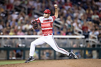 Louisville Cardinals pitcher Garrett Schmeltz (35) delivers a pitch to the plate during Game 10 of the NCAA College World Series against the Mississippi State Bulldogs on June 20, 2019 at TD Ameritrade Park in Omaha, Nebraska. Louisville defeated Mississippi State 4-3. (Andrew Woolley/Four Seam Images)