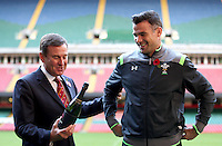 Monday 3 November 2014<br /> Pictured: WRU Chief Executive Roger Lewis and Grand slam winning Welsh International Mike Phillips<br /> Re: WRU unveils new hybrid pitch at the Millennium Stadium, Cardiff.