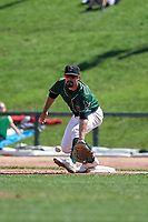 Great Lakes Loons first baseman Luke Heyer (16) prepares to catch a throw during a Midwest League game against the Wisconsin Timber Rattlers at Dow Diamond on May 4, 2019 in Midland, Michigan. Great Lakes defeated Wisconsin 5-1. (Zachary Lucy/Four Seam Images)
