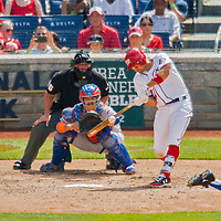 30 April 2017: Washington Nationals first baseman Ryan Zimmerman connects for an RBI sacrifice fly in the 4th inning against the New York Mets at Nationals Park in Washington, DC. The Nationals defeated the Mets 23-5, with the Nationals setting several individual and team records, in the third game of their weekend series. Mandatory Credit: Ed Wolfstein Photo *** RAW (NEF) Image File Available ***