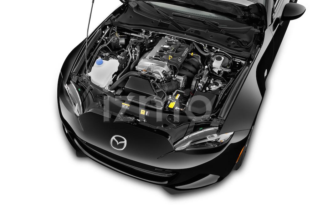 Car Stock 2017 Mazda MX-5 Miata Grand Touring 2 Door Convertible Engine high angle detail view