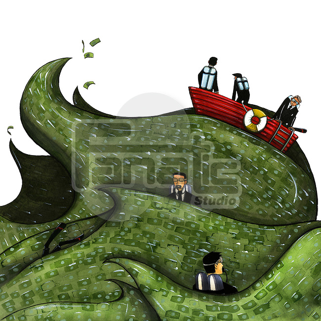 Illustration of businesspeople sailing on boat in the ocean of money