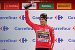 Race leader Primoz Poglic (SLO) Team Jumbo-Visma retains the Red Jersey at the end of Stage 11 of the Vuelta Espana 2020 running 170km from Villaviciosa to Alto de la Farrapona, Spain. 31st October 2020.    <br /> Picture: Luis Angel Gomez/PhotoSportGomez | Cyclefile<br /> <br /> All photos usage must carry mandatory copyright credit (© Cyclefile | Luis Angel Gomez/PhotoSportGomez)