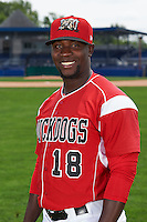 Batavia Muckdogs hitting coach Rigoberto Silverio (18) poses for a photo on July 8, 2015 at Dwyer Stadium in Batavia, New York.  (Mike Janes/Four Seam Images)