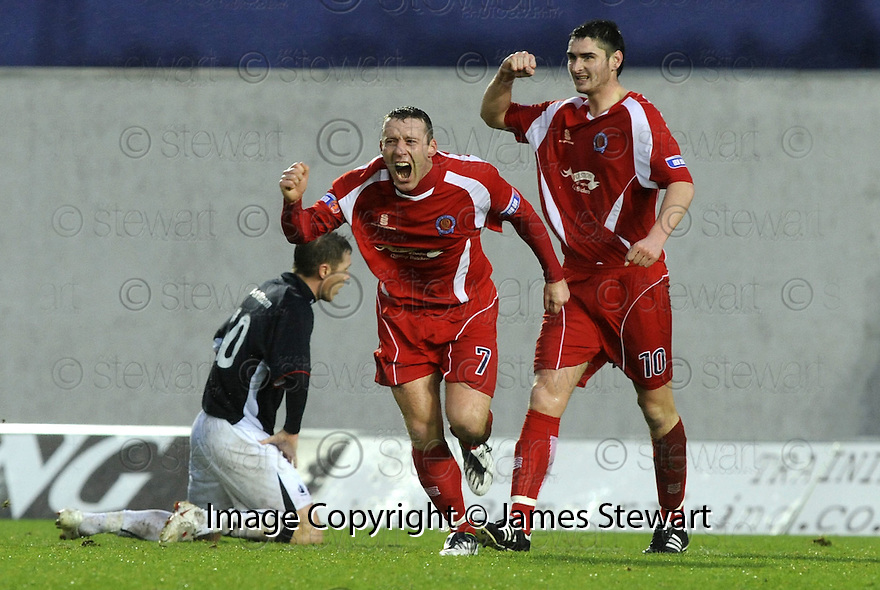 10/01/2009  Copyright Pic: James Stewart.File Name : sct_jspa03_falkirk_v_qots.BARRY WILSON CELEBRATES AFTER HE SCORES QUEEN OF THE SOUTH'S FIRST.James Stewart Photo Agency 19 Carronlea Drive, Falkirk. FK2 8DN      Vat Reg No. 607 6932 25.Studio      : +44 (0)1324 611191 .Mobile      : +44 (0)7721 416997.E-mail  :  jim@jspa.co.uk.If you require further information then contact Jim Stewart on any of the numbers above.........