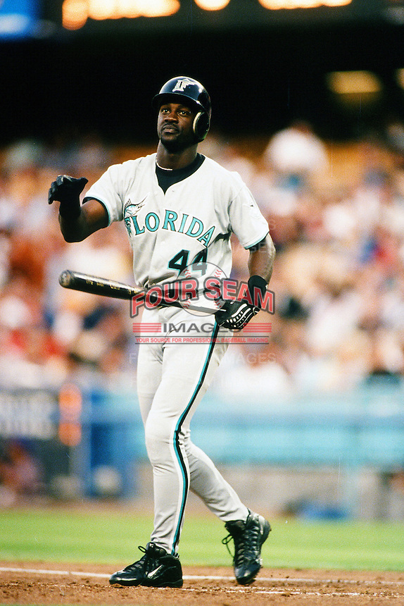 Preston Wilson of the Florida Marlins during a game against the Los Angeles Dodgers at Dodger Stadium circa 1999 in Los Angeles, California. (Larry Goren/Four Seam Images)