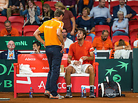 The Hague, The Netherlands, September 15, 2017,  Sportcampus , Davis Cup Netherlands - Chech Republic, Seccond Rubber: Robin Haase (NED) on the Dutch bench with Captain Paul Haarhuis<br /> Photo: Tennisimages/Henk Koster