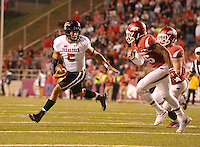 NWA Democrat-Gazette/MICHAEL WOODS • @NWAMICHAELW<br /> University of Arkansas defender Rohan Gaines tries to run down Texas Tech quarterback Patrick Mahomes II  as he runs the ball inside the 10 yard line in the 4th quarter of Saturday nights game against Texas Tech at Razorback Stadium in Fayetteville.