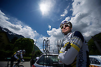 Vacansoleil-DCM Tour de France 2012 recon stage 11..Rafa Valls before going up the Glandon