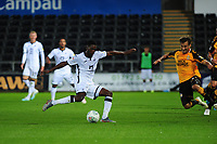 Jordon Garrick of Swansea City scores his side's fourth goal during the Carabao Cup Second Round match between Swansea City and Cambridge United at the Liberty Stadium in Swansea, Wales, UK. Wednesday 28, August 2019.