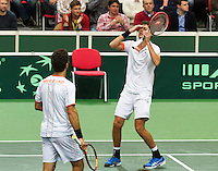 01-02-14,Czech Republic, Ostrava, Cez Arena, Davis Cup Czech Republic vs Netherlands, ,  Haase/Rojer(NED)   are looking in the eye of defeat<br /> Photo: Henk Koster