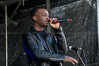 """George the Poet (George Mpanga, spoken word performer, public speaker, writer, recording artist and MTV star).<br /> <br /> London, 22/03/2014. """"Stand Up To Racism & fascism - No to Scapegoating Immigrants, No to Islamophobia, Yes to Diversity"""", national demo marking UN Anti-Racism Day organised by TUC (Trade Union Congress) and UAF (Unite Against Fascism).<br /> <br /> For more information please click here: http://www.standuptoracism.org.uk/"""