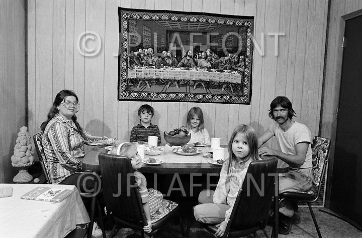 Russellville, AR. September 1980.<br /> Mr. Ashley, his wife and his children live in Arkansas. He used to work at the Firestone factory but is now unemployed since the closing of the factory.