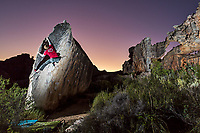 Ned Feehally bouldering in Rocklands, South Africa