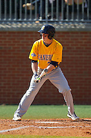 Ronnie Bernick (2) of the Canisius Golden Griffins at bat against the Charlotte 49ers at Hayes Stadium on February 23, 2014 in Charlotte, North Carolina.  The Golden Griffins defeated the 49ers 10-1.  (Brian Westerholt/Four Seam Images)