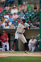 Columbus Clippers right fielder Tyler Naquin (6) bats during a game against the Rochester Red Wings on August 9, 2017 at Frontier Field in Rochester, New York.  Rochester defeated Columbus 12-3.  (Mike Janes/Four Seam Images)