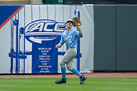 North Carolina Tar Heels center fielder Brian Miller (5) catches a fly ball during the game against the Boston College Eagles in Game Five of the 2017 ACC Baseball Championship at Louisville Slugger Field on May 25, 2017 in Louisville, Kentucky.  The Tar Heels defeated the Eagles 10-0 in a game called after 7 innings by the Mercy Rule. (Brian Westerholt/Four Seam Images)