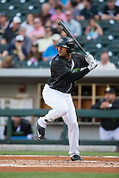 Daniel Fields (5) of the Charlotte Knights at bat against the Columbus Clippers at BB&T BallPark on May 3, 2016 in Charlotte, North Carolina.  The Clippers defeated the Knights 8-3.  (Brian Westerholt/Four Seam Images)