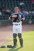 Winston-Salem Dash catcher Zack Collins (30) prior to the game against the Potomac Nationals at BB&T Ballpark on July 15, 2016 in Winston-Salem, North Carolina.  (Brian Westerholt/Four Seam Images)