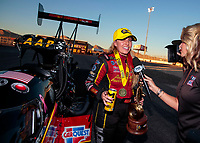 Nov 3, 2019; Las Vegas, NV, USA; NHRA top fuel driver Brittany Force celebrates after winning the Dodge Nationals at The Strip at Las Vegas Motor Speedway. Mandatory Credit: Mark J. Rebilas-USA TODAY Sports
