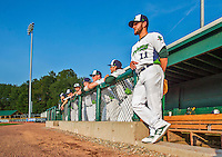 8 July 2015: Vermont Lake Monsters pitcher Bowdien Derby stands at the steps of the dugout prior to a game against the Mahoning Valley Scrappers at Centennial Field in Burlington, Vermont. The Lake Monsters defeated the Scrappers 9-4 to open the home game series of NY Penn League action. Mandatory Credit: Ed Wolfstein Photo *** RAW Image File Available ****
